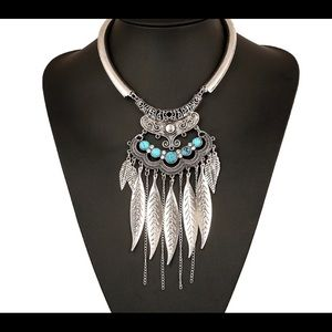 Jewelry - Boho Silver Toned Statement Necklace  turquoise